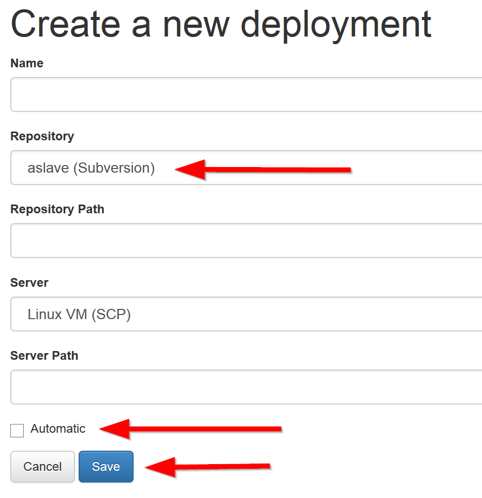Create an automatic deployment
